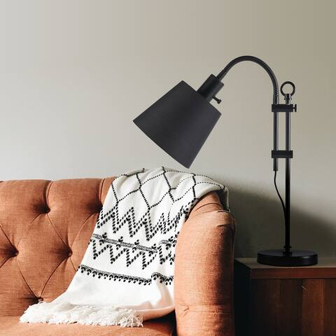 CO-Z Modern Adjustable Arched Desk Lamp with Black Fabric Shade