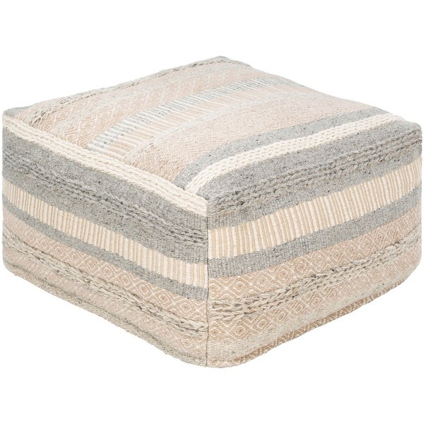 """24"""" Ivory and Gray Woven Cube Pouf Ottoman - N/A"""