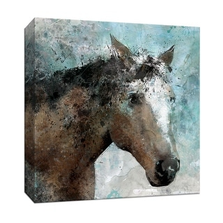 """PTM Images 9-147426  PTM Canvas Collection 12"""" x 12"""" - """"Trail at Dawn"""" Giclee Horses Art Print on Canvas"""