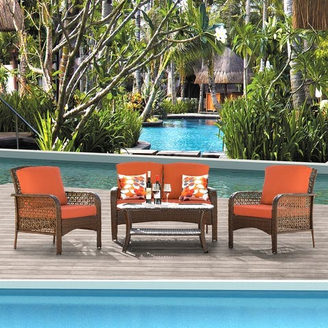 Ovios 4 PCs Patio Furniture Sets Water-Resistant Wicker Deep Seating Outdoor Sofa Conversation Set,Table