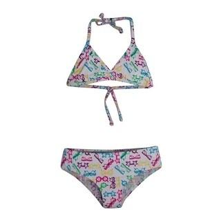 Girls Multi Color Sunglasses Print Halter Triangle Bikini Swimsuit 7-16