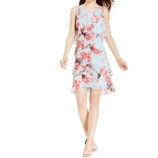 SL Fashions Womens Plus Cocktail Dress Tiered Floral Print - 18