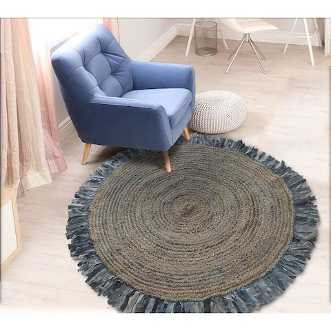 LR Home Boutique Jute Denim Swirl Fringed Rug