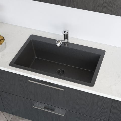 R3-2006 Topmount Single Bowl Granite Quartz Kitchen Sink with Grid and Matching Colored Flange