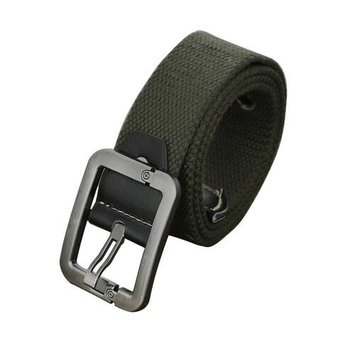 Men Outdoor Woven Canvas Pin Buckle Waist Belt 37mm Width 1.5inches Army Green - Army Green