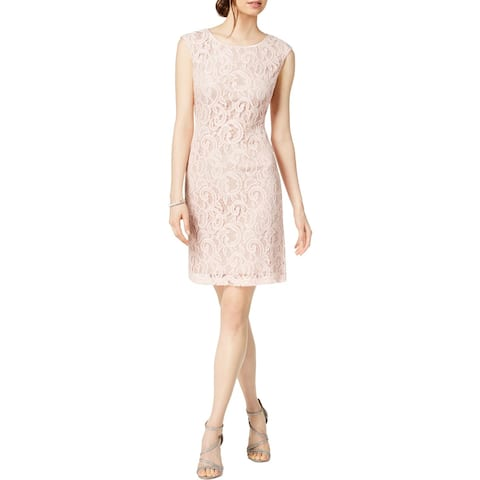 Connected Apparel Womens Petites Party Dress Lace Pullover