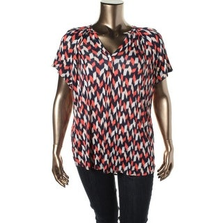 Lucky Brand Womens Plus Split Neck Pattern Pullover Top - 2X