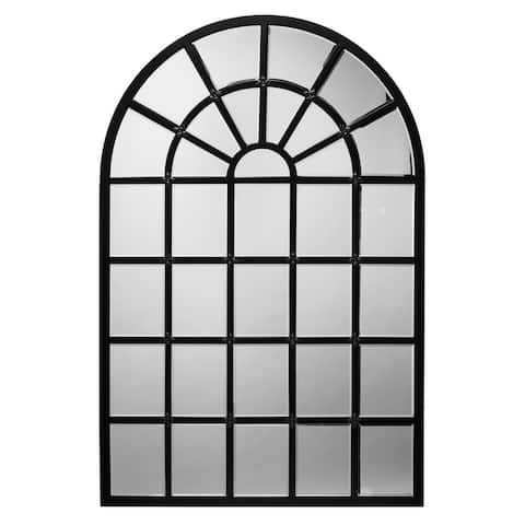 Mirror with Arch Metal Frame and Grid Design,Black and Silver