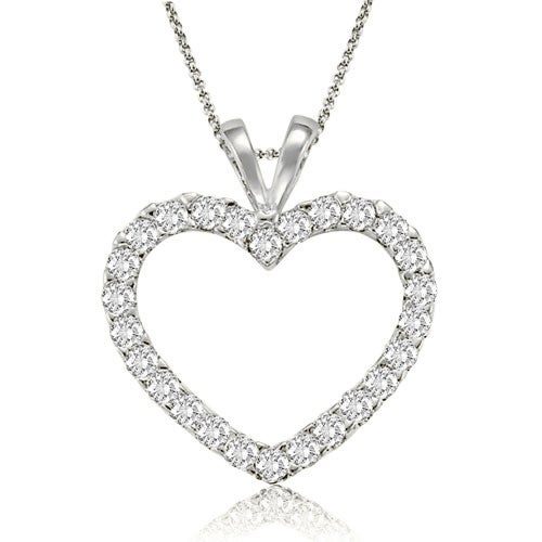 0.50 cttw. 14K White Gold Classic Heart Shape Diamond Pendant