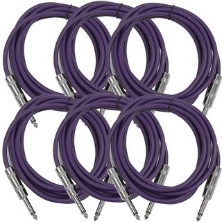 "SEISMIC AUDIO 6 PACK Purple 1/4"" TS 10' Patch Cables - Guitar - Instrument"