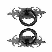 Cabinet Ring Pull Wrought Iron Black Rustproof Finish Door 3-1/2 in. Set of 2