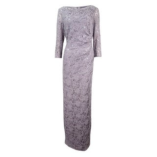 Jessica Howard Women's Sequined Lace Draped Column Gown - Grey - 16