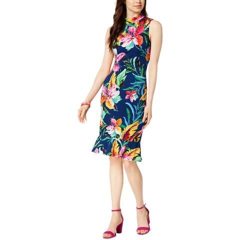 JAX Tropical Mock Neck Ruffle Dress Blue