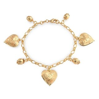Bling Jewelry Message Love Heart Charm Bracelet Gold Filled 7.5 Inch