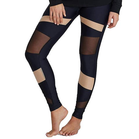 Onzie Womens Leggings Black Nude Size XS Mesh Inset Bondage Pull-On