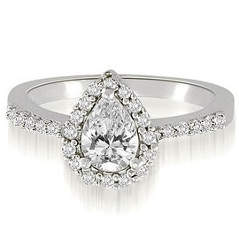 1.00 cttw. 14K White Gold Pear And Round Shape Halo Diamond Engagement Ring