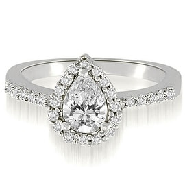 1.25 cttw. 14K White Gold Pear And Round Shape Halo Diamond Engagement Ring