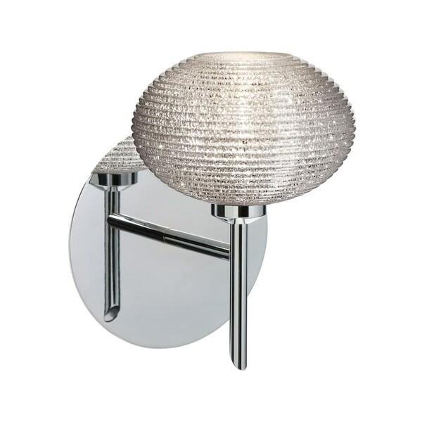 Besa Lighting 1SW-5612GL Lasso 1 Light Halogen Bathroom Sconce with Glitter Glass Shade - Chrome