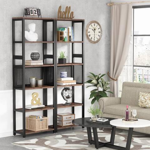 5-Tier Bookshelves, Shelving Unit, Plant Stand, Set of 2