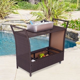 Costway Patio Rolling Rattan Kitchen Trolley Cart Dining Aluminum Frame With Storage Box