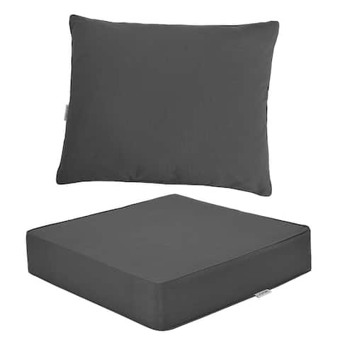 """Deep Seat Chair Cushion Pads Set with Rope Belts for Indoor and Outdoor - 25"""" x 25"""" x 6"""" (L x W x H)"""