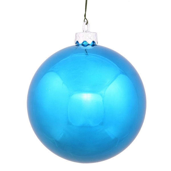 "Shiny Turquoise UV Resistant Commercial Drilled Shatterproof Christmas Ball Ornament 2.75"" (70mm)"