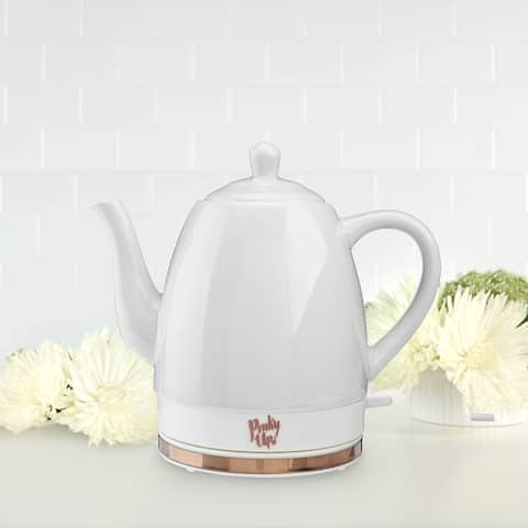 """Noelle Grey Ceramic Electric Tea Kettle by Pinky Up - 9"""" x 6"""""""