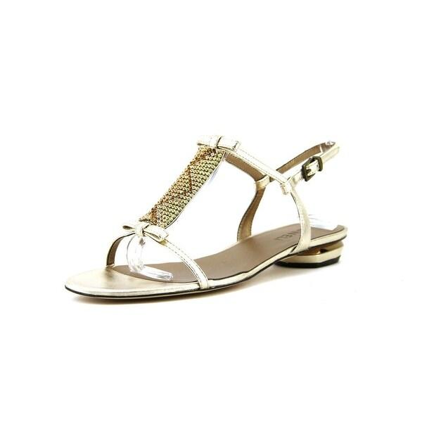 Vaneli Blanch Women Open-Toe Leather Gold Slingback Sandal