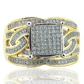 14mm Wide Wedding Ring With Diamond and Gold 10K 0.40ctw (i2/i3, I/j) By MidwestJewellery - White I-J