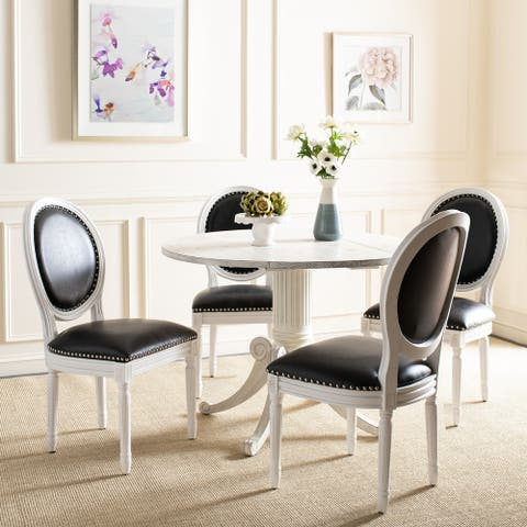 """SAFAVIEH Dining Old World Holloway Black Pu Oval Dining Chairs (Set of 2) - 19.8"""" x 20"""" x 39"""""""