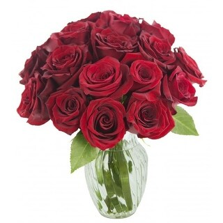 KaBloom Valentine s Day Special 18 Romantic Red Rose Bouquet with Vase