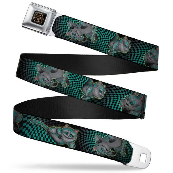 Alice Through The Looking Glass Logo Full Color Black Gold Cheshire Cat 4 Seatbelt Belt