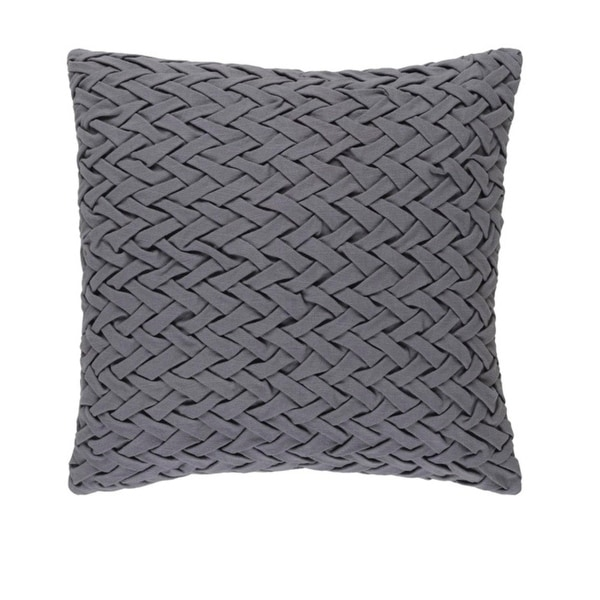 "20"" Gunmetal Gray Woven Decorative Square Throw Pillow - Down Filler"