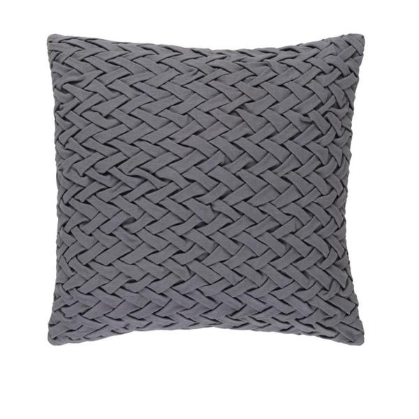 "20"" Gunmetal Gray Woven Decorative Square Throw Pillow"