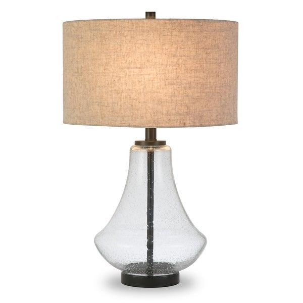 Leta Table Lamp in Seeded Glass with Flax Shade. Opens flyout.