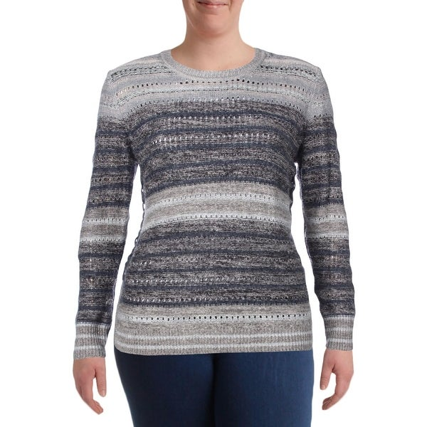 bc9de7a28e5bf Shop Lucky Brand Womens Pullover Sweater Crochet Striped - Free ...