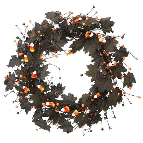 """22"""" Halloween Black Maple Leaf Wreath"""