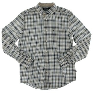 Nautica Mens Button-Down Shirt Cotton Plaid - S