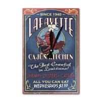 Lafayette LA Cajun Kitchen Vintage Sign LP Artwork (Acrylic Wall Clock) - acrylic wall clock