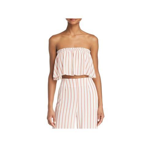 Sage Womens Aurelia Crop Top Strapless Striped - Coral