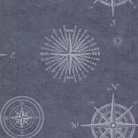 Brewster 2604-21213 Navigate Ocean Vintage Compass Wallpaper - Ocean Compass - N/A
