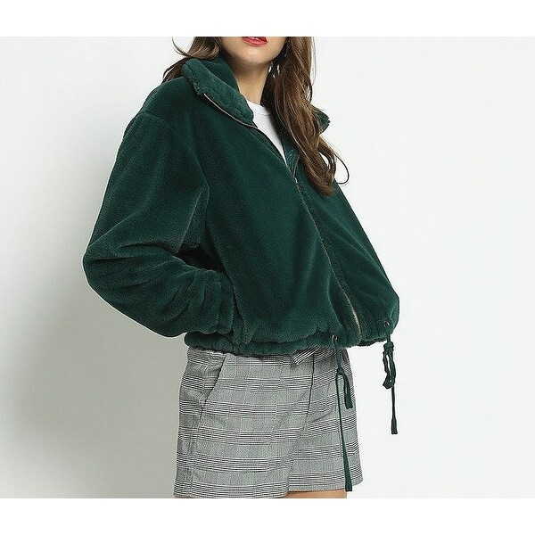 Know.One.Cares Green Womens Size Large L Faux-Fur Cropped Jacket