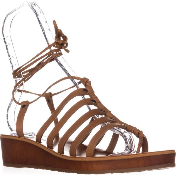 Lucky Brand Hulumi Ankle Strap Low Wedge Sandals, Brown Sugar - 10 us / 40 eu