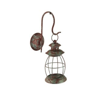Distressed Metal Vintage Lantern Wall Mounted Candle Sconce - 16.25 X 9.5 X 5 inches