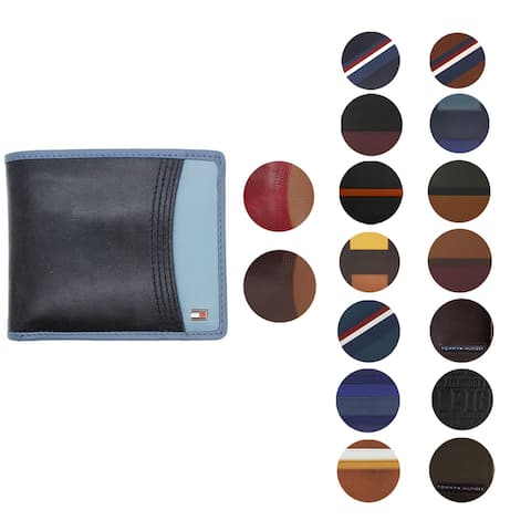 Tommy Hilfiger Men's Bifold & Valet Stitched Premium Leather Logo Wallet
