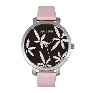 Sophie & Freda Key West Leather-Band Watch Silver/Mauve