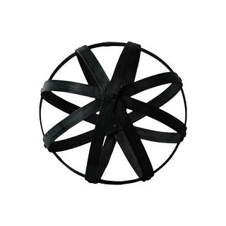 Bamboo Orb Dyson Sphere with 5 Circular Rings, Large, Black