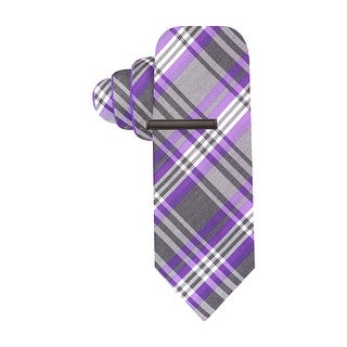 Alfani Red Label Plaid and Solid Reversible Skinny Tie Purple and Grey Necktie - One Size Fits most