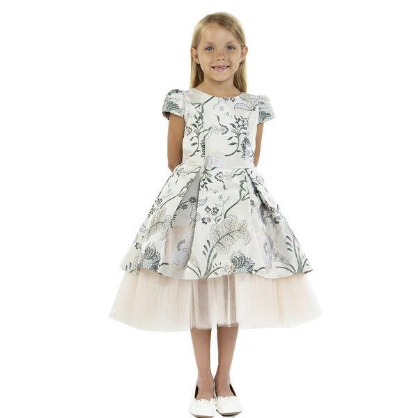 520132f55b47 Shop Kids Dream Girls Champagne Brocade High-Low Cap Sleeve Christmas Dress  - Free Shipping Today - Overstock - 24184990