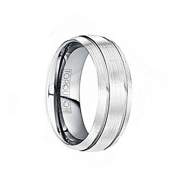 MARINUS Wire Brushed Tungsten Comfort Fit Band with Polished Grooves by Crown Ring